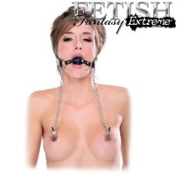 Кляп с зажимами для сосков Fetish Fantasy Extreme Deluxe Ball Gag and Nipple Clamps от Pipedream