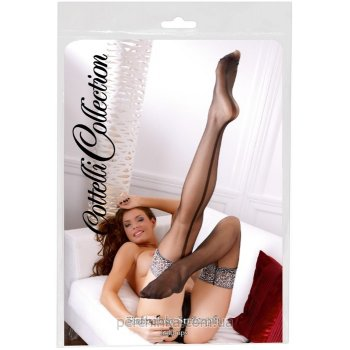 Чулки Cottelli Collection Hold-up Stockings Black/White от Orion